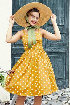 1950s Fashion Dresses, Vintage 1950s Dresses, Vestidos Vintage, Burgundy Dress, Yellow Dress, Rockabilly, Vestidos Pin Up, Stitching Dresses, Pin Up Dresses