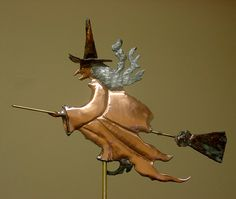 Custom Copper Weathervanes | Witch Weathervane Witch Weathervane built with revere copper, faux ...