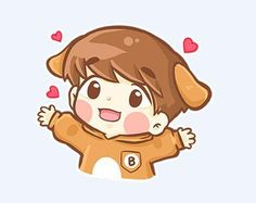 Exo, baekhyun, and fanart image Chibi Cat, Cute Chibi, Exo Stickers, Cute Stickers, The Last Airbender Anime, Baekhyun Fanart, Chanyeol, Art Naruto, Emoji