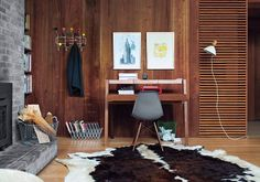 Cozy home office. Well blended into the wall and within the space, which allows to use the space aside from work.