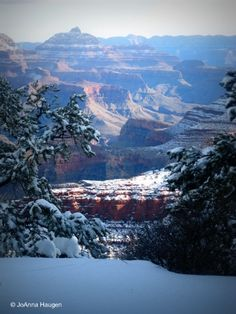 Grand Canyon in winter. Gorgeous! Drove through a snowstorm on visit #2 & as we approached the rim, we had a clearing in the storm. BEAUTIFUL!!