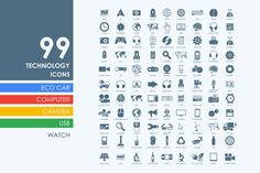 99 technology icons by Palau on @creativemarket