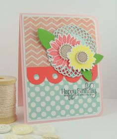 PTI: Simple Sunflowers, Banner Border Dies, Doily Details collection, Beautiful Butterflies. http://simplyhandmadebyheather.blogspot.com/2014/04/pti-color-play.html