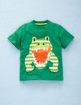 T-Shirt mit großer Applikation (Sattgrün/Krokodil)