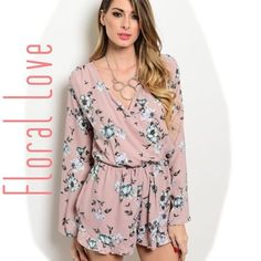 New! ABBEY dusty pink floral print romper ABBEY dusty pink romper with blue floral print. This beautiful woven romper features a wrapped v-neckline, long bell sleeves, blouson bodice and gorgeous floral print all over. Material: 100% polyester. Available in sizes S, M & L. Please comment what size you need & I will make you a personalized listing. Measurements available upon request. No trades, price firm. Thank you for visiting my closet! Boutique Pants Jumpsuits & Rompers