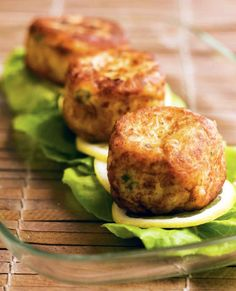 Prince Edward Potato Fish Cakes (i would use anything but salmon though) and I would use small amounts of olive oil to saute in. Bake the fish to cook it before making-use leftover fish?