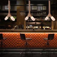 Mid-Century Bar Chairs Meet Modern Lighting Pieces You'll Love Lounge Design, Design Café, Bar Lounge, Cafe Design, Architecture Restaurant, Luxury Restaurant, Restaurant Bar, Bar Interior, Restaurant Interior Design
