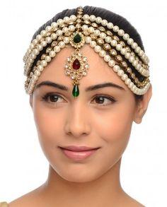#Exclusivelyin, #IndianEthnicWear, #IndianWear, #Fashion, Faux Pearls & Crystal Stones Matha Patti