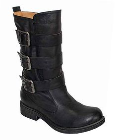 Black Raggae Buckle Boot