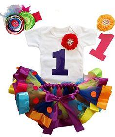7023ddf8f Noahs Boytique Baby Girls First Birthday Rainbow Colorful Ribbon Tutu  Outfit 1218 Months