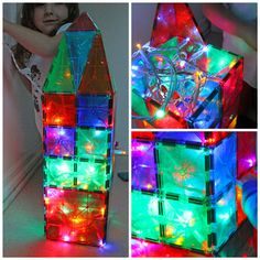 Super Easy Kids Activity: Pair Magna Tiles with Christmas Lights for sparkly fun! From BABBLE DABBLE DO