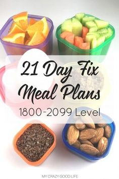 It's tough to come up with a game plan, especially when you are just starting out with the 21 Day Fix. These meal plans for the 1800-2099 level will help!