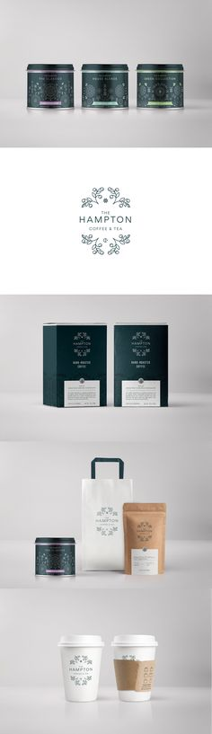 Art direction, Graphic Design and Packaging for The Hampton, high quality coffee and tea shop.   https://www.behance.net/panelstudiodesign branding, mexico, graphic design,  stationary, tin foil can, box, packaging, coffee cup, tea, coffee, takeout bag