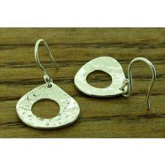 hammered teardrop silver drop earrings