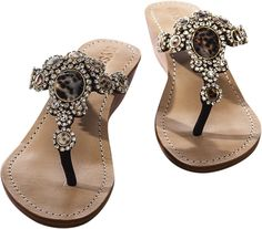Mystique crystal jeweled sandals in wedge, mini wedge and flat 6,7 ...