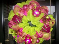 Lime Green and Pink Christmas Wreath