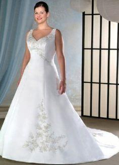 A-line V-neck Chapel Train Satin Plus Size Wedding Dress