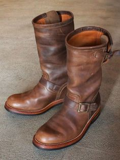 MOTOR CHROMEXCEL LEATHER 1ST MODEL ENGINEER BOOTS NATURAL ( 2 years and a half age )