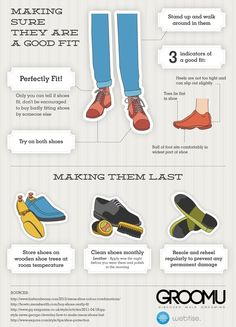MEN'S ESSENTIALS:  How to get the Perfect Shoe Fit and How to take care of them.  ---> FOLLOW US ON PINTEREST for Style Tips, Men's Basics,  Men's Essentials on anything, OUR SALES etc... ~ VujuWear