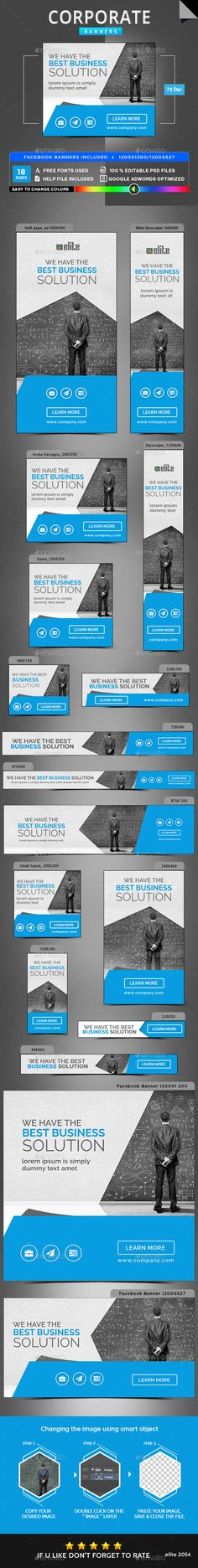 Corporate Web Banners Template PSD #ads