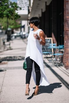 Pin for Later: 50 Work-Appropriate Outfits to Reach For When Its Hot AF A Long, White High-Low Tank Dress, Dark Jeans, and Leopard Heels Mode Outfits, Chic Outfits, Fashion Outfits, Womens Fashion, Fashion Trends, Dressy Outfits, Fashionable Outfits, Fashion Clothes, Moda Casual