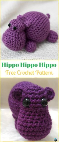 Crochet Amigurumi Hippo Free Pattern - Amigurumi Crochet Hippo Toy Softies Free Patterns