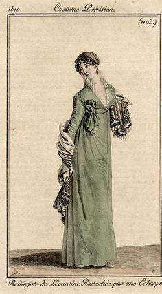 Another charming pelisse in green, Costume parisien, 1810