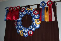 Repurposing horse show ribbons Horse Ribbon Display, Show Ribbon Display, Horse Show Ribbons, How To Make Purses, How To Make Wreaths, Award Display, Display Ideas, Ribbon Chandelier, Ribbon Flip Flops