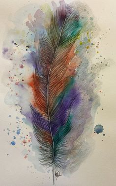 Aquarell - Feder -Original-Aquarell fine art - ein Designerstück von mizzonybaby bei DaWanda