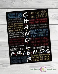 Friends Show Artwork. Friends TV Show Chandler. Friends TV Show Poster. Friends Show Decor. Friends TV Show Frame. by BubbaLuCreations on Etsy Friends Tv Show, Friends Show Quotes, Christmas Quotes For Friends, Serie Friends, Friends Episodes, Friends Moments, All Friends, Friend Memes, Tv Show Quotes