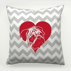 Pug, Mops, Carlin Chevron Decorative pillow In Love by PSIAKREW on Etsy