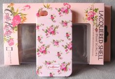 Cath Pink Flower Plastic Hard Back Case Cover Boxset for iPhone 4G 4S
