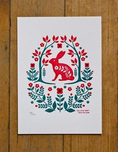 Dutch folk art design printmaking rabbit flowers two colour illustration letterpress lino screen print Scandinavian Pattern, Scandinavian Folk Art, Stencil, Year Of The Rabbit, Polish Folk Art, Folk Embroidery, Indian Embroidery, Embroidery Ideas, Embroidery Stitches