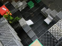 Melbourne Australia city leaks urban intervention with milk crates Lunch Saludable, Big Lego, Plastic Crates, Plastic Milk, Treads And Risers, Urban Intervention, Apple Crates, Milk Crates, Outdoor Retreat