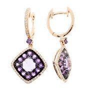 #121014 Rose Amethyst & Diamond Earrings