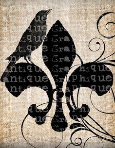 Antique French Fleur de Lis Raven Halloween by AntiqueGraphique, $1.00