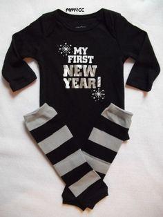 My first new year 2014 baby boy onesie leg warmers black by MM4CC