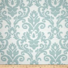 Waverly Kenwood Damask Jacquard Opal from @fabricdotcom  Refresh and modernize any home decor with this medium/heavyweight jacquard fabric, perfect for some window treatments, accent pillows, and upholstering furniture, headboards, poufs and ottomans. Colors include ivory and aqua blue. This fabric has 33,000 double rubs.