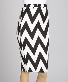Another great find on #zulily! Black & White Zigzag Midi Skirt by MOA Collection #zulilyfinds