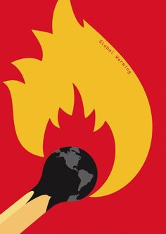 ANITA WASIK, Global warming This ad shows the earth as the tip of a matchstick, burning. This uses ethos to show us that the earth is getting hot, but also that we are using the earth like a…More Art And Illustration, Illustration Design Graphique, Art Graphique, Graphic Design Posters, Graphic Art, Global Warming Poster, Art Environnemental, Posters Conception Graphique, Visual Metaphor