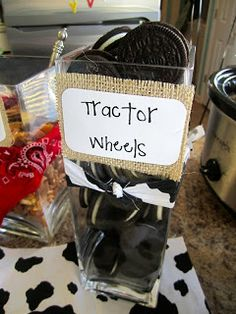 Oreo cookie tractor wheels for a cowboy party Cow Birthday, Farm Animal Birthday, Cowboy Birthday Party, Cowgirl Party, Boy Birthday Parties, Birthday Ideas, Petting Zoo Birthday Party, Rodeo Birthday, Farm Animal Party