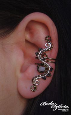 silver and gunmetal wire wrapped ear cuff with moonstone