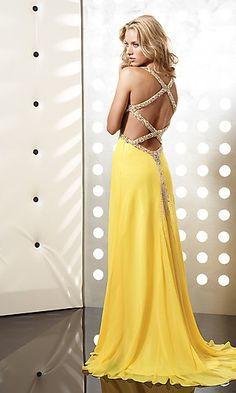Sexy Yellow Prom Gown by Jasz 4365 JZ-4365y  www.dresseswd.com  Style: JZ-4365y  Name: Yellow Open Back Formal DressClosure: Zipper   Details: Embellished Cutout Back   Length: Floor Length   Neckline: Low V-Neck   Waistline: Empire