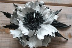 White&Black Leather flower brooch leather poppy corsage