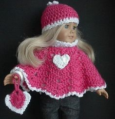 American Girl valentine heart poncho with purse
