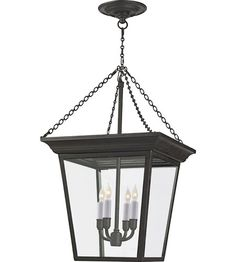 """Visual Comfort E.F. Chapman Cornice 4 Light Ceiling Lantern in Hand Painted Blackened Rust SL5871BR 21"""" H (fixture), 27"""" H (with chain canopy), 14.5"""" W, $894.50"""