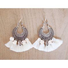 ➳ Boucle d'oreille pour oreilles percées. ➳ Argent 925 ➳ Pièce centrale ethnique ➳ pompon coton ➳ pampille argent