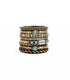 Guess Antique-Effect Gold-Tone Stackable Rings ($15)