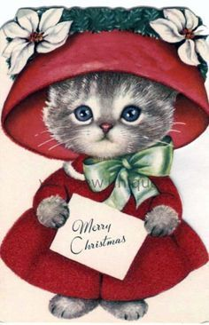 Vintage Christmas greeting card - For a Dear Auntie Merry Christmas, adorable kitten in a red hat and dress Altered Art Christmas, Old Christmas, Retro Christmas, Old Fashioned Christmas, Vintage Greeting Cards, Christmas Greeting Cards, Christmas Greetings, Vintage Postcards, Vintage Christmas Images