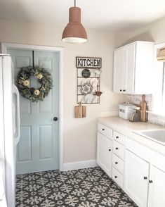 door is whipped mint by behr and walls are cream in my coffee by valspar Like door color for possible color in home Kitchen Paint Colors, Farmhouse Paint Colors, Cottage Paint Colors, Door Paint Colors, Living Room Paint Colors, Hgtv Paint Colors, Neutral Kitchen Colors, Farmhouse Decor, Paint For Kitchen Walls